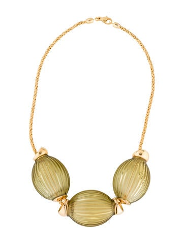 Lalique Grooved Green Crystal Necklace None