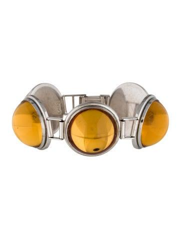 Lalique Orange Crystal Link Bracelet None