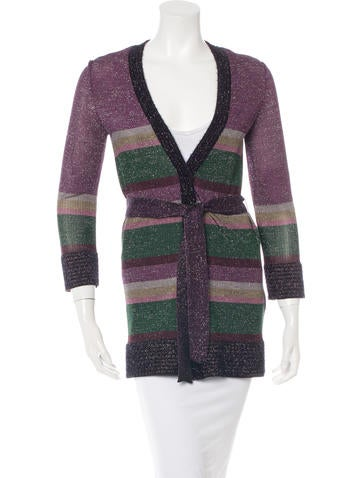 M Missoni Striped Knit Cardigan None