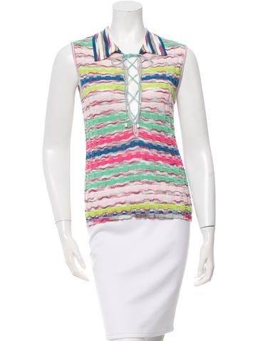 M Missoni Textured Knit Lace Up Top None