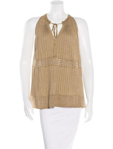 M Missoni Metallic Rib Knit Top None