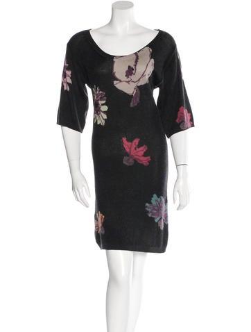 M Missoni Floral-Pattern Wool Dress None