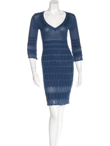 M Missoni Rib Knit Knee-Length Dress None