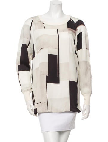 By Malene Birger Silk-Trimmed Printed Top None