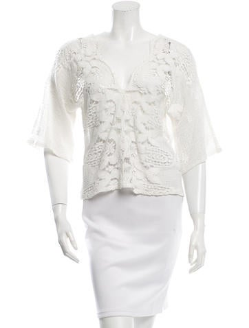 Miguelina Lace V-Neck Top None