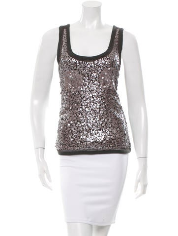 Magaschoni Sequined Rib Knit Top None