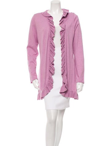Magaschoni Ruffle-Trimmed Open Front Cardigan None