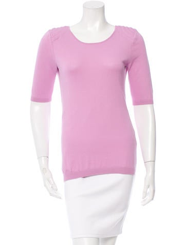 Magaschoni Shoulder-Accented Scoop Neck Top None