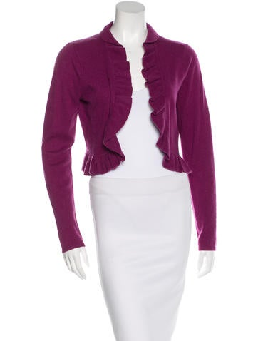Magaschoni Cashmere Ruffle-Trimmed Shrug None