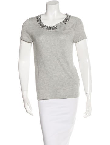 Magaschoni Silk & Cashmere-Blend Embellished Top None