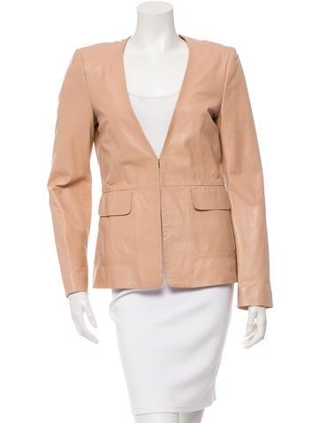 Philosophy di Alberta Ferretti Collarless Leather Jacket None