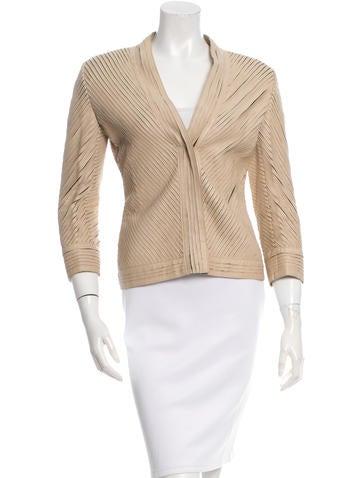 Philosophy di Alberta Ferretti Stripped Leather Jacket None