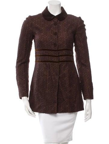Philosophy di Alberta Ferretti Chocolate Brown Applique Jacket None