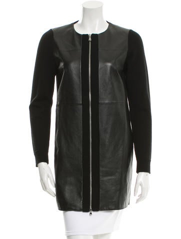 M.PATMOS Leather & Wool-Blend Jacket None
