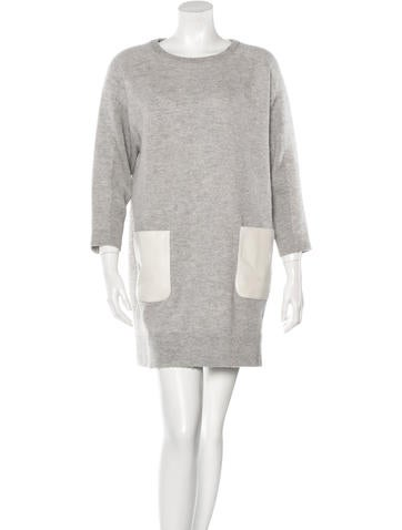 M.PATMOS Leather-Accented Wool Dress None