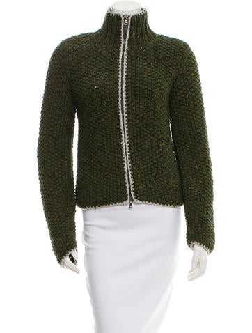Prada Sport Wool Rib Knit Cardigan None