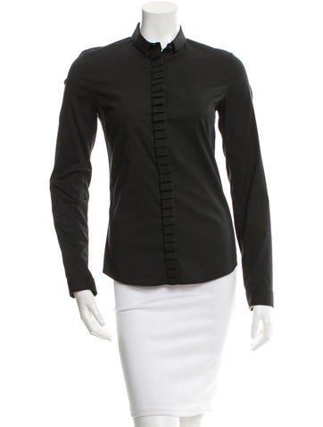 Prada Sport Ruffle-Trimmed Button-Up Top w/ Tags None