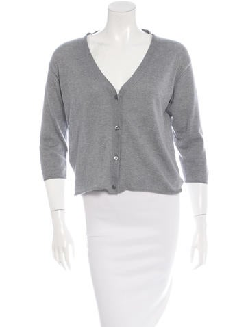 Prada Sport Virgin Wool Three-Quarter Sleeve Cardigan None
