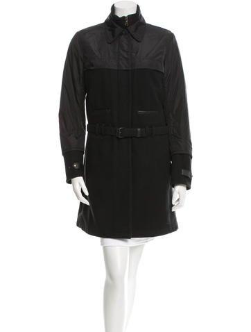 Prada Sport Leather-Trimmed Wool Coat None
