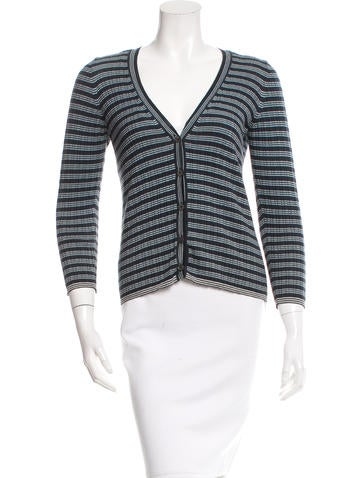 Prada Sport Rib Knit Button-Up Cardigan None