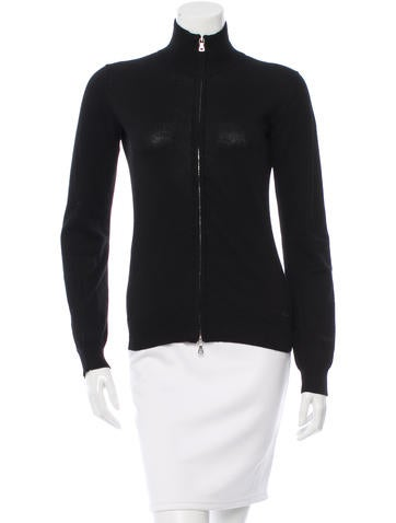 Prada Sport Rib Knit Zip-Up Sweatshirt None