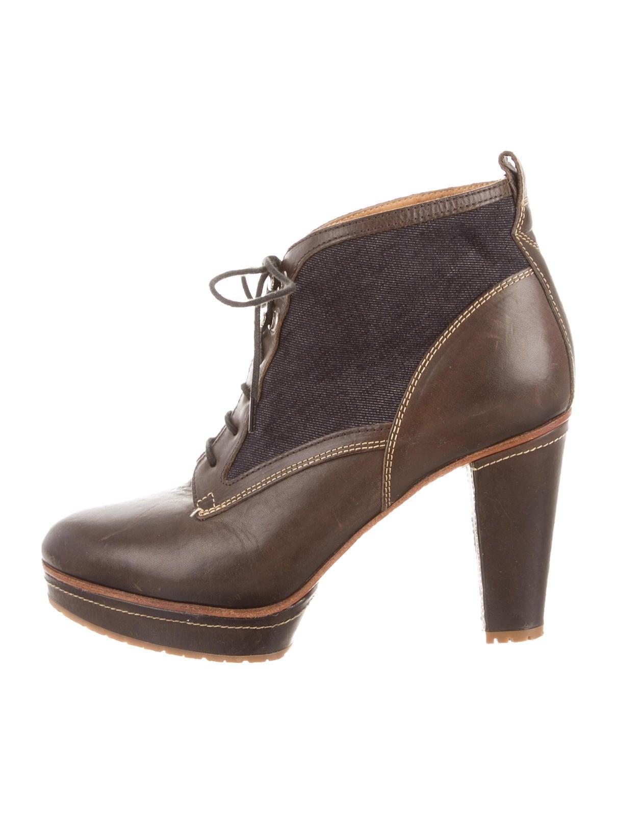 rag bone denim accented platform ankle boots shoes