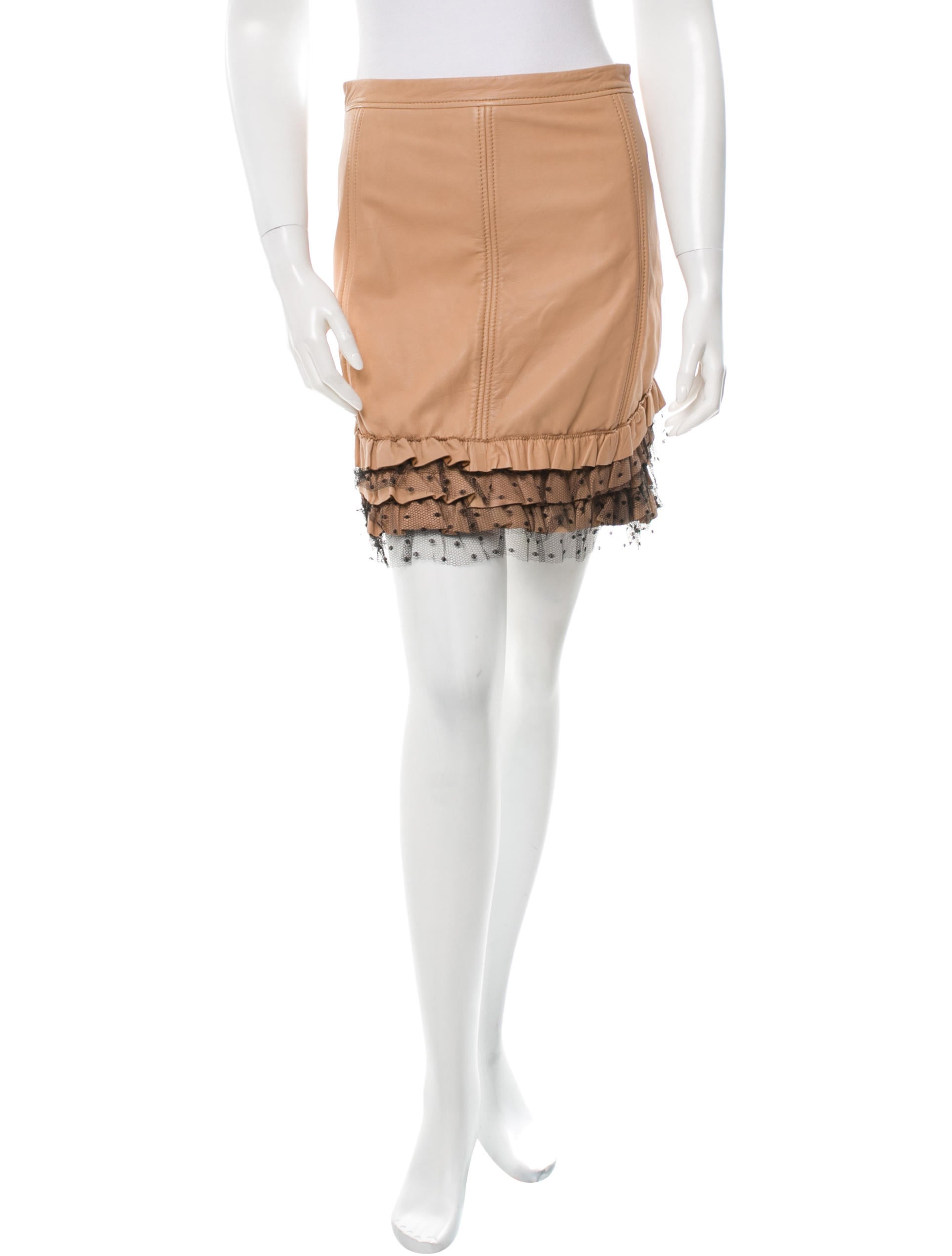 valentino leather ruffle skirt w tags clothing