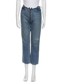 Zipper Jean Straight Leg Jeans