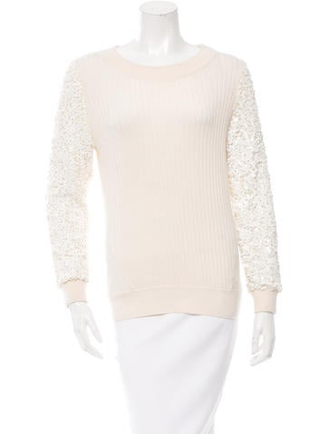 Rachel Zoe Sequin Sleeve Sweater None