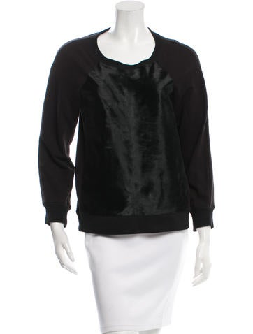 Rachel Zoe Ponyhair Rib Knit-Trimmed Sweatshirt None