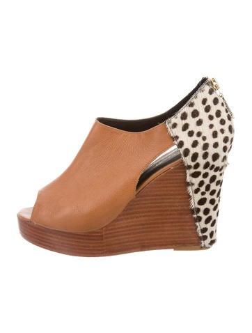 Rebecca Minkoff Leather Peep-Toe Platform Wedges None