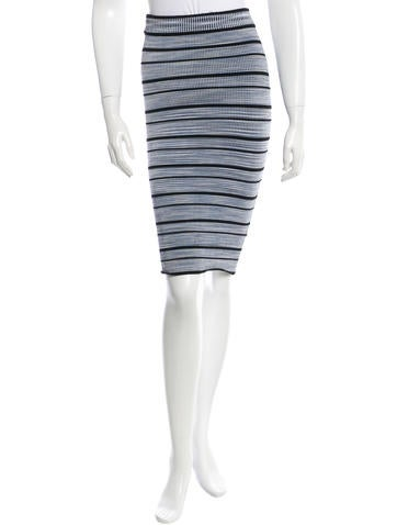 Ronny Kobo Striped Rib Knit Skirt w/ Tags None