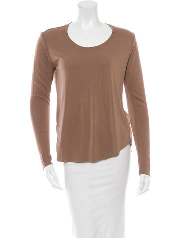 Raquel Allegra Silk-Paneled Long Sleeve Top None
