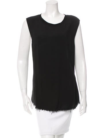 Raquel Allegra Sleeveless Fringe-Trimmed Top w/ Tags None