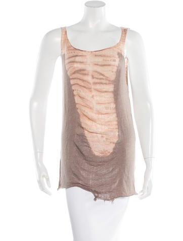Raquel Allegra Distressed Tie- Dye Top None