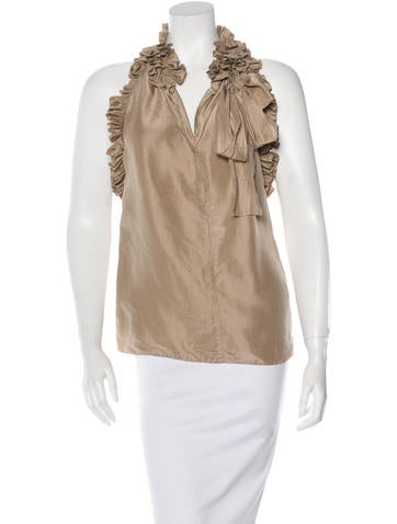 Robert Rodriguez Silk Ruffled Top None