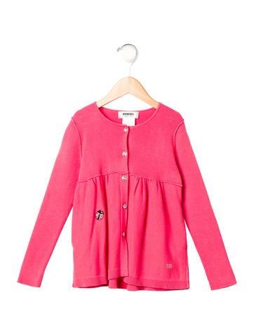 Rykiel Enfant Girls' Embellished Rib Knit Cardigan None