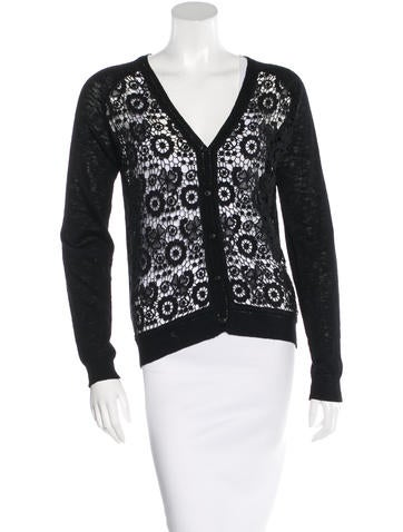 Sandro Crochet Knit Cardigan None