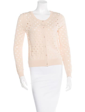 Sandro Eyelet Button-Up Cardigan None