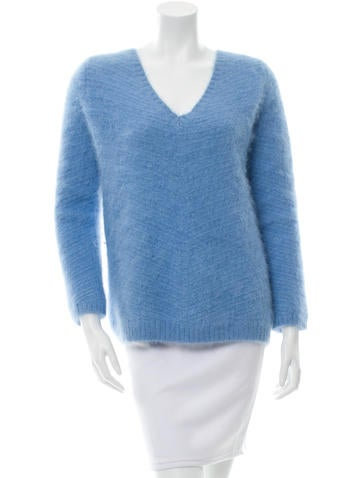 Sandro V-Neck Angora Sweater None