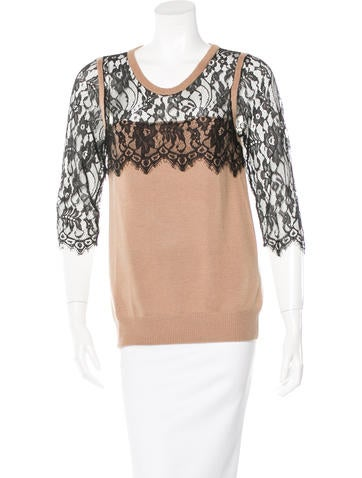 Sandro Lace-Trimmed Wool Sweater None