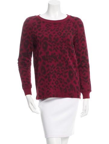 Sandro Leather-Paneled Printed Sweatshirt None