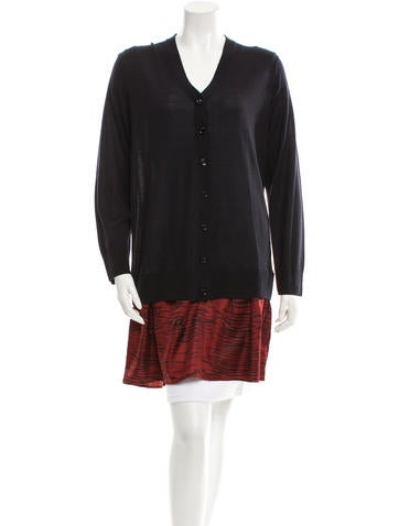 Sonia by Sonia Rykiel Tiger-Paneled Knitted Cardigan w/ Tags None