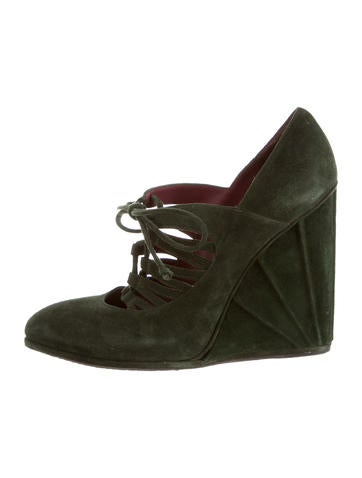 Stuart Weitzman Suede Pointed-Toe Wedges None