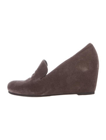 Stuart Weitzman Suede Round-Toe Wedges None
