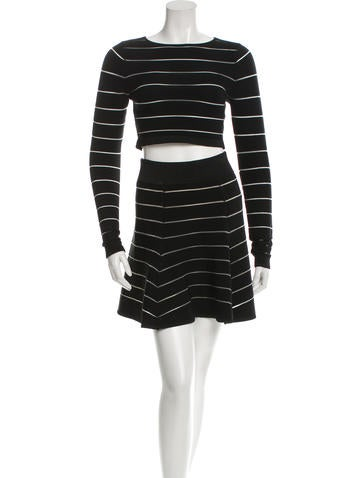 Torn by Ronny Kobo Mesh-Trimmed Crop Top Skirt Set w/ Tags None