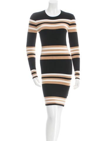 Torn by Ronny Kobo Striped Bodycon Dress None