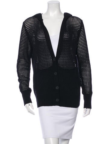 T by Alexander Wang Hooded Open Knit Cardigan None