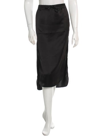 T by Alexander Wang Wool-Trimmed Satin Skirt None