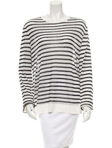 T by Alexander Wang Striped Crew Neck Top None